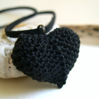 Black heart pendant necklace - Mother&#x27;s day gift idea present - Lace Fashion - Crochet heart - handmade - Wedding anniversary - Gift idea