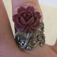 Gothic Maroon Rose Stem Ring by ConnorInspiresAmy on Etsy