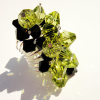 Olive Green Ring, Lime Black Beaded Statement Cocktail Ring, Cluster Cocktail Ring