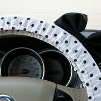 Black and White Polka Dot Steering Wheel Cover with by BeauFleurs