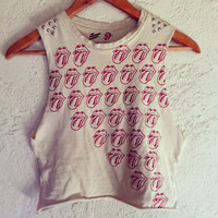 Studded Rolling Stones Crop top by NewSpiritVintage on Etsy