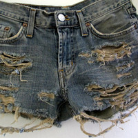 Shredded Shorts Distressed Size 1 2 Jean Denim High Waist Waisted Levis Low Rise