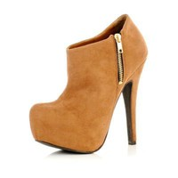 light brown side zip ankle boots - ankle boots - shoes / boots - women - River Island
