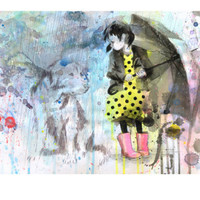 Rain Dog Giclee Print by Lora Zombie