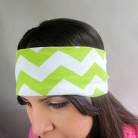 Lime green Chevron zigzag head band