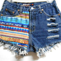 Blue  Denim Shorts Tribal Print  with Studs by Turnupthevolume