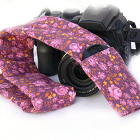 Camera Strap Cover with Lens Cap Pocket. dSLR Camera Strap Cover. Camera Accessory.