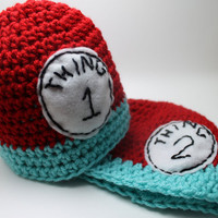 Dr Suess Thing 1 and Thing 2 Hat Set ALL Sizes by KnittyMomma