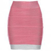 Bqueen Skirt Pink and White H086F - Designer Shoes|Bqueenshoes.com