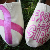 Breast Cancer Awareness Pink Ribbon Fight Like A Girl Original Custom Acrylic Painting for Toms/Canvas Shoes