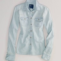 AE Light Denim Shirt | American Eagle Outfitters