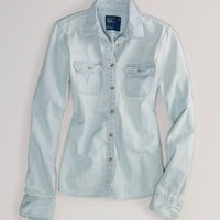 AEO Women's Light Denim Shirt (Light Wash)