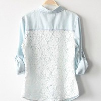 Vintage Light Blue Denim Shirt With Lace Back