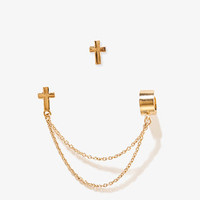 Cross Studs w/ Chained Ear Cuff | FOREVER 21 - 1048590315
