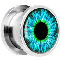 00 Gauge Steel Human Eye Aqua Explosion Screw Fit Plug: Jewelry: Amazon.com