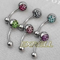 Amazon.com: 6 Leopard Print Surgical Steel Barbell Navel Belly Button Ring Bar Body Piercing: Arts, Crafts & Sewing
