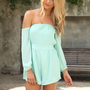 Chiffon Mint Off the Shoulder Playsuit with Cinched Waist