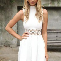 Ivory Turtle-Neck Dress with Cut-out Floral Crochet Detail