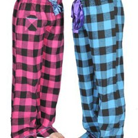 Amazon.com: Alki'i 2-pack Women's Flannel Pajama Pants set with satin detail: Clothing