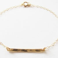 Hammered Bar Bracelet, 14kt Gold Filled Bracelet, Gift for Her
