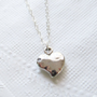 Puffy Hammered Heart Necklace, Sterling SIlver Necklace, Gift for Her