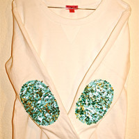 Dazzle Me - The &quot;Dazzle Patch&quot; Sweatshirt  w/Sequin Elbow Patch