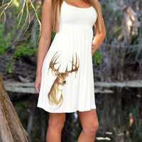 Country Girl Cute White Deer Dress