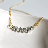 Silver Star Necklace - Shooting Stars - Gold & Silver - Simple Everyday Jewelry