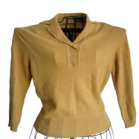 Vintage Yellow Sweater Dark Mustard Shade - Dyed Wool by Garland