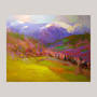 Original Landscape Painting - Colorful Canvas Art - Mountains Painting - Bold Colors Painting by Yuri Pysar