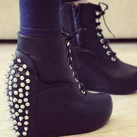 PU Leather Studs Lace-Up Boots from TheSOUL-ERS