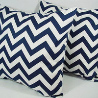 2 Chevron Decorative Pillow Covers Blue and White - 18 x 18 inches Throw Pillow Cushion Cover Accent Pillow