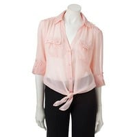 Candie&#x27;s Lace Tie-Front Top
