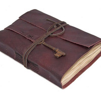 Burgundy Leather Journal with Tea Stained Pages and Skeleton Key Bookmark