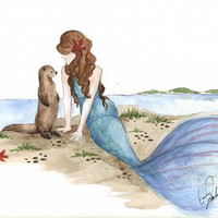 85 X 11 Print of Original Watercolor The Otter and by LittleMissEm