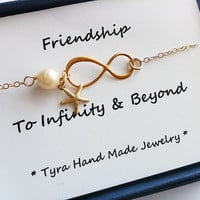 Infinity necklace  with cardStarfish by tyrahandmadejewelry