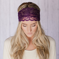 Plum Lace Headband Wide Stretchy Lace Purple Hair Band Hair Tie Back Hair Band Head Covering