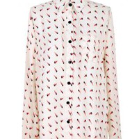 White  Bird Print Shirt BR005