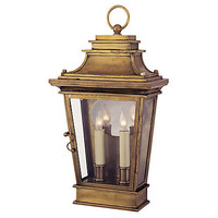 One Kings Lane - Visual Comfort - Club Door Medium 2-Light Lantern, Brass