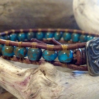 Southwest Chic Leather Wrap Bracelet, Aqua White Picasso, Chan Luu Inspired