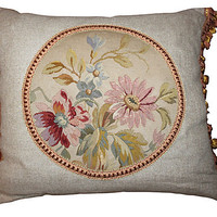 One Kings Lane - Pillow w/ 19th-C. French    Aubusson