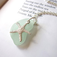Mother's Day Gift - Seafoam beachglass topped with starfish - Cute nautical Jewelry for a beach lover Mom - FREE SHIPPING