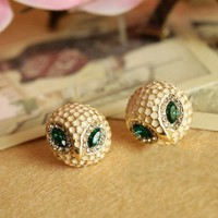 Cute Rhinestone Round Owl Head Stud Earrings wholesale