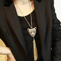 Two Tone Rhinestone Leopard Tassel Long Chain Necklace wholesale