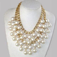 Wholesale Statement Pearl Bib Necklace Caroine Same Style