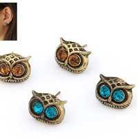 Vintage Cute Brown Owl Stud Earrings(Two Pairs) wholesale