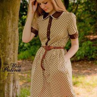 Brown Day Dress - Signature Design Contrast Peter Pan | UsTrendy
