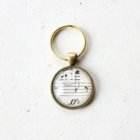 Keychain.  Accessory musician, music teacher, music lover.  Vintage sheet music under glass