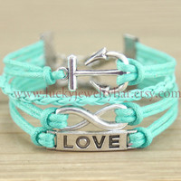 Anchor bracelet, infinity bracelet,love bracelet, mint green bracelet, mint green,friendship gift 13-20