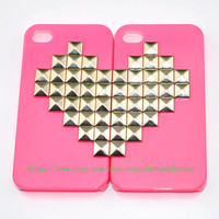 Pink iPhone 4 ,iPhone 4s Case with sliver heart pyramid stud for friends gift  d-100